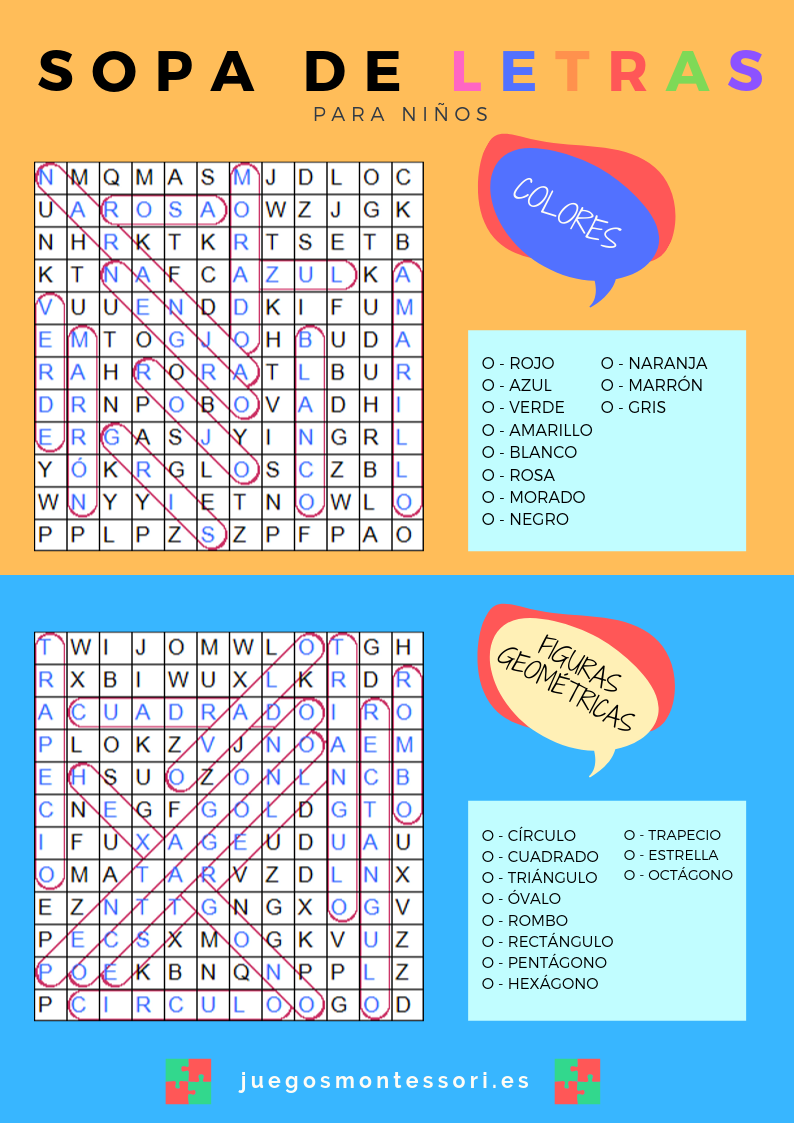 Sopa de Letras para Niños para imprimir solución colores y formas