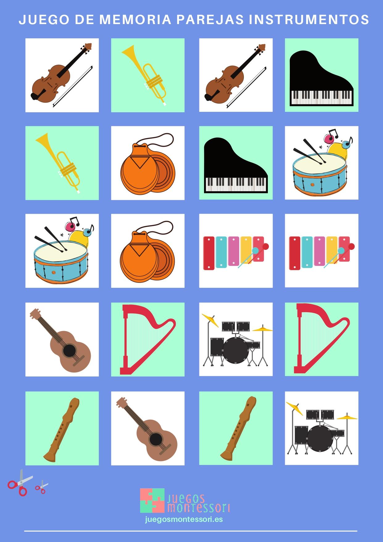 juego de memoria parejas instrumentos