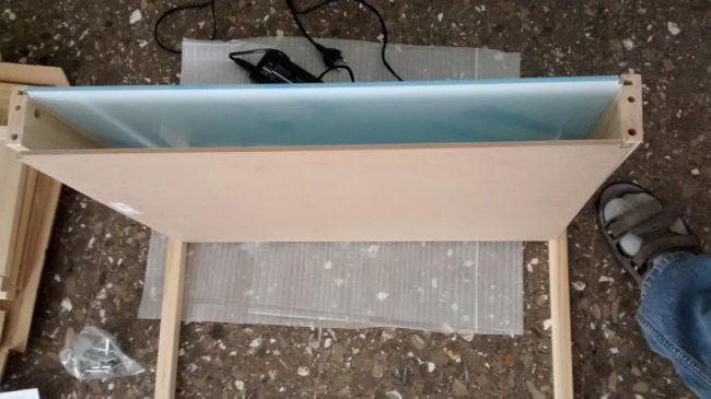 montaje mesa de luz tablero