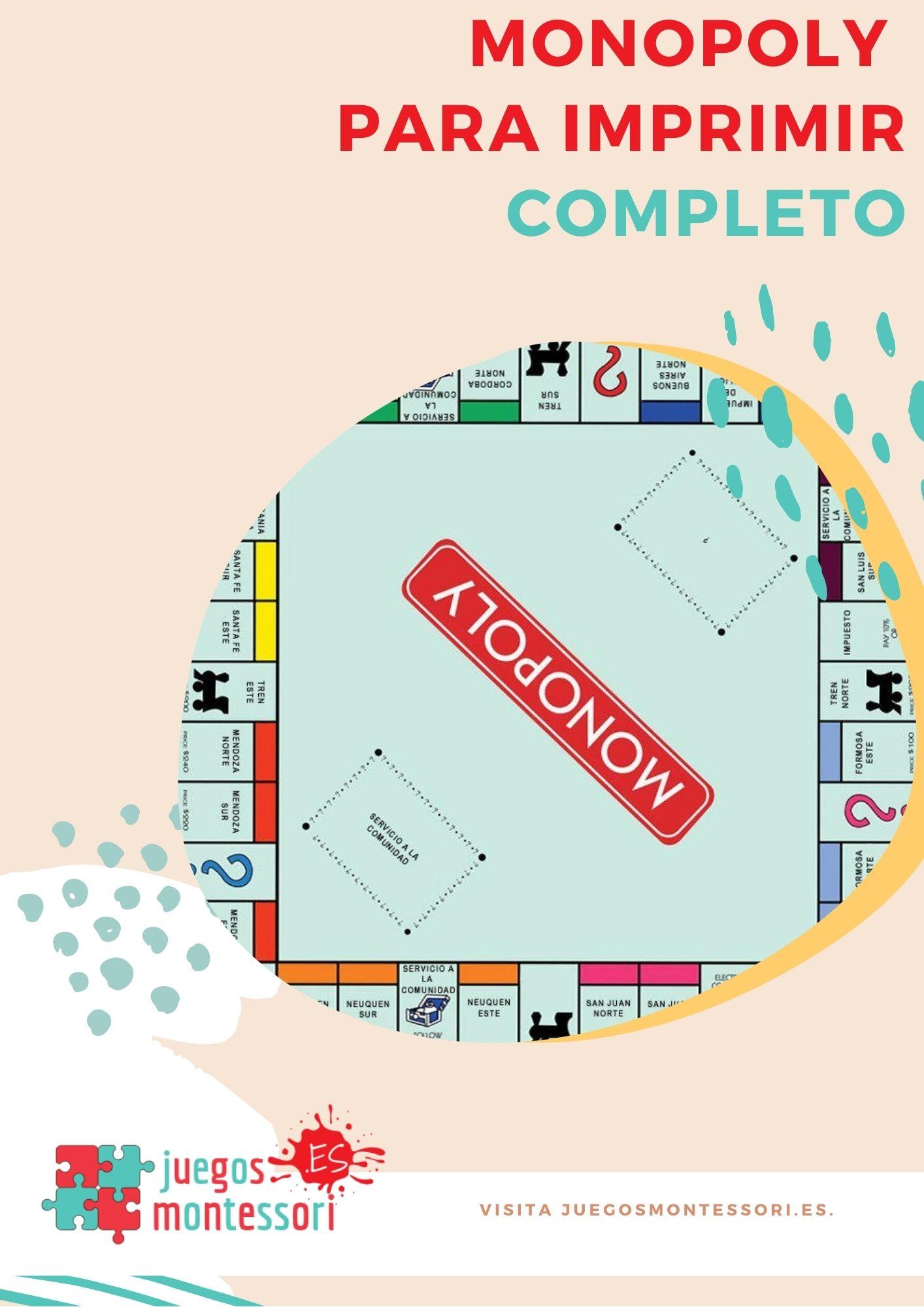 Monopoly para Imprimir COMPLETO | Tablero, Billetes y Tarjetas