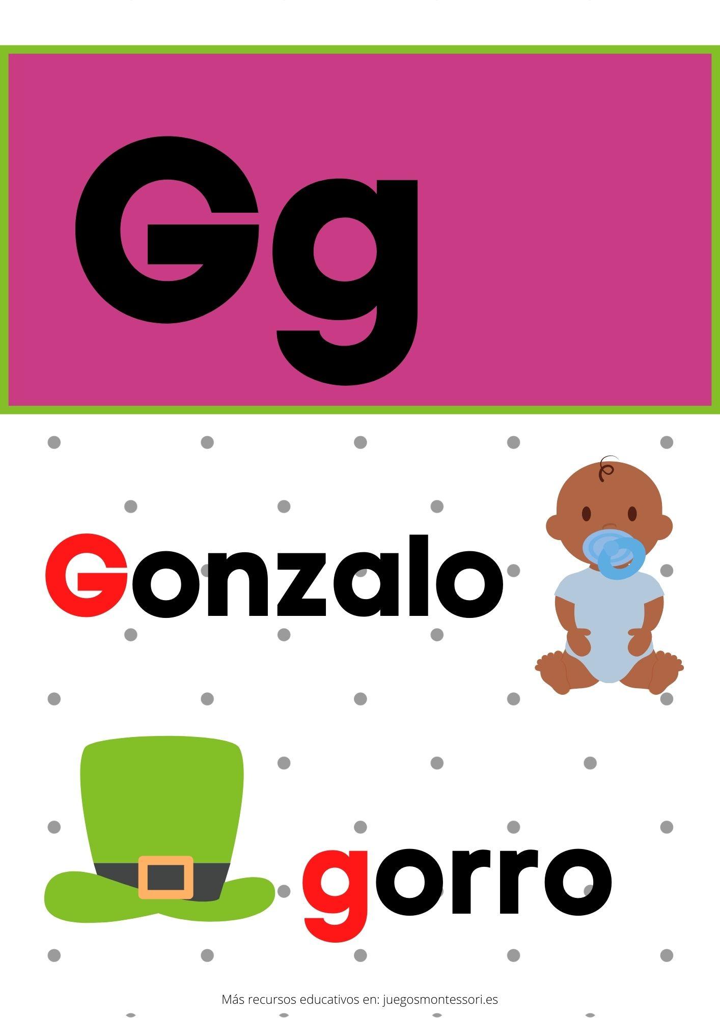 G abecedario letras separadas y grandes