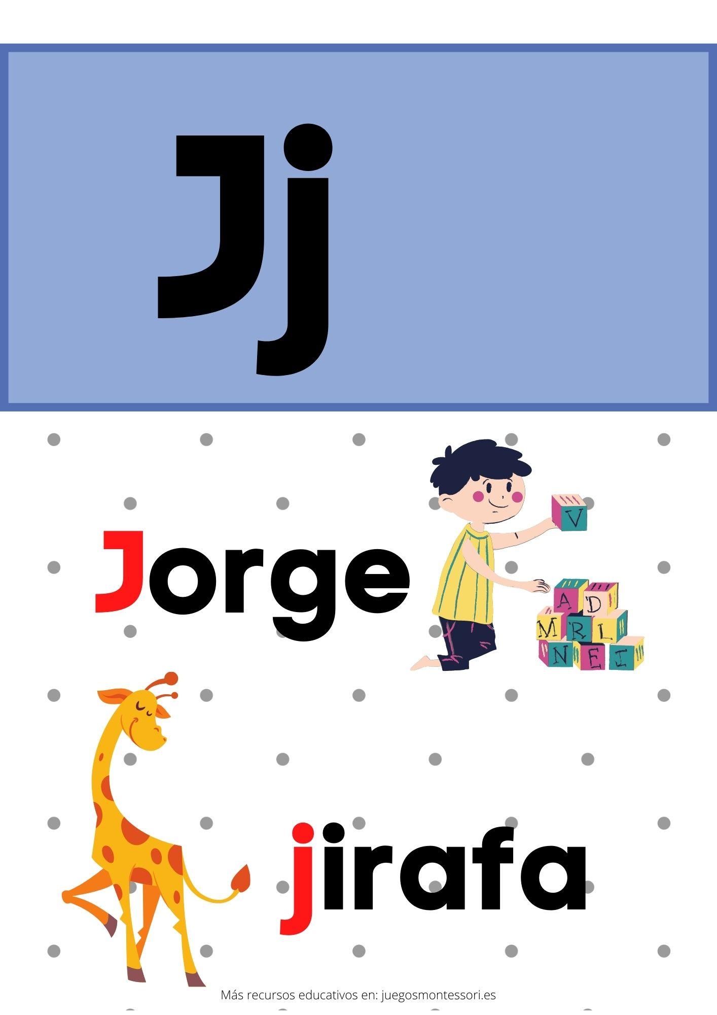 J abecedario letras separadas y grandes