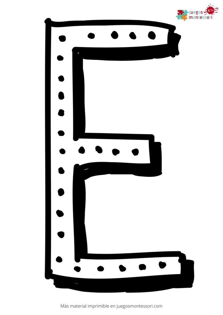 Letra e grande para colorear