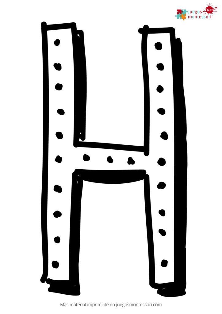 Letra h grande para colorear