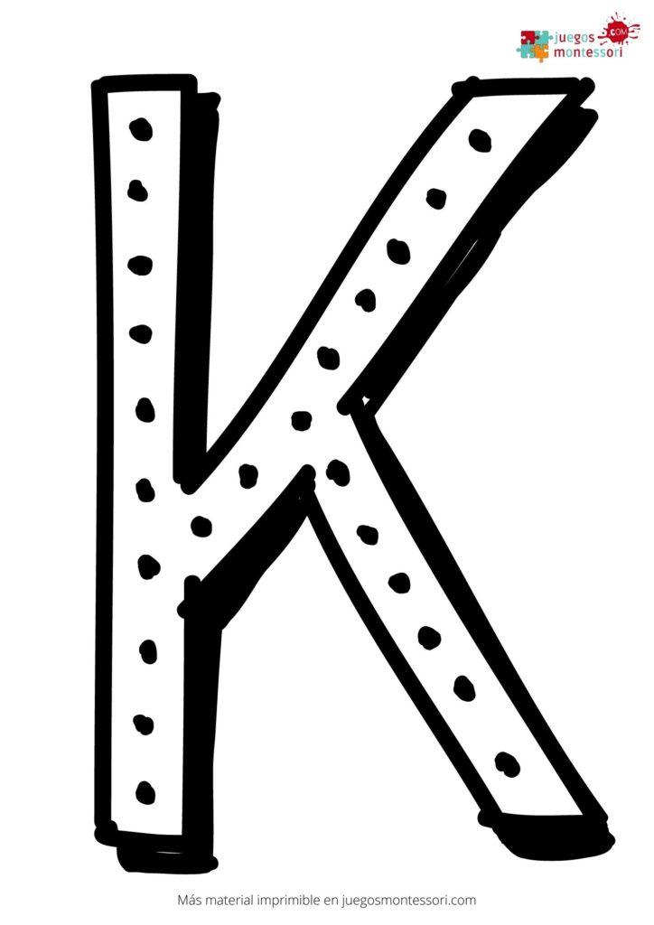 Letra k grande para colorear
