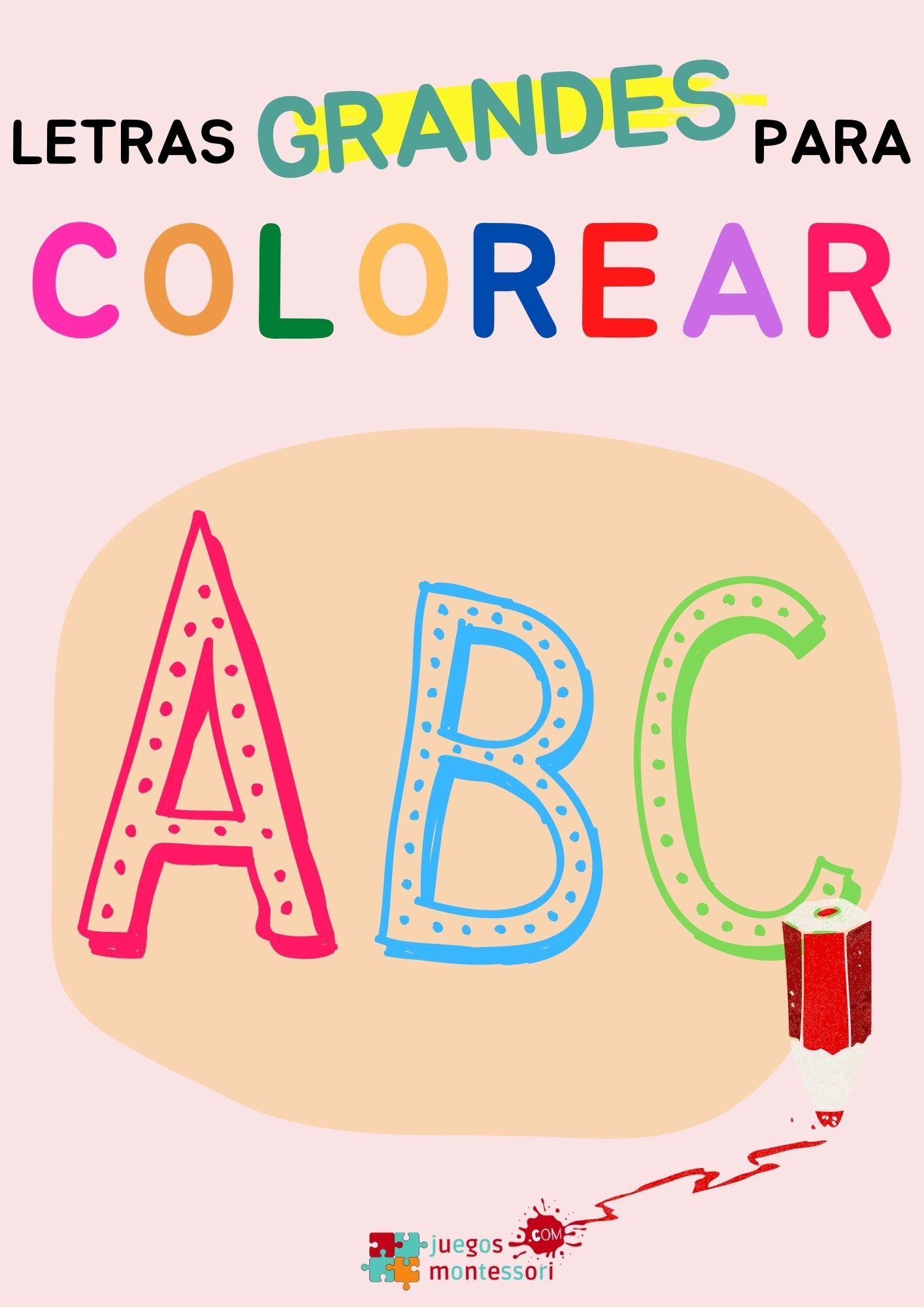 Letras grandes para colorear | PDF para Imprimir
