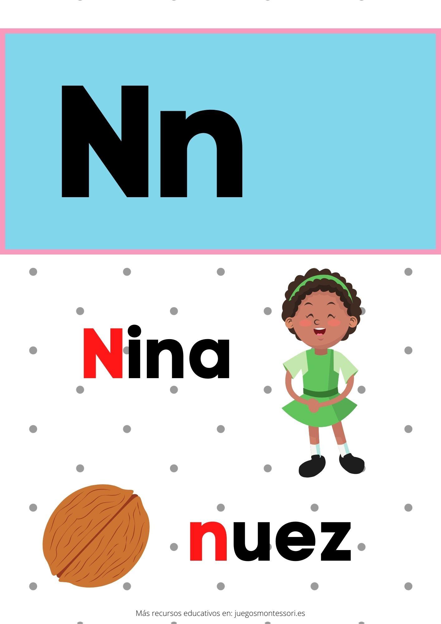 N abecedario letras separadas y grandes