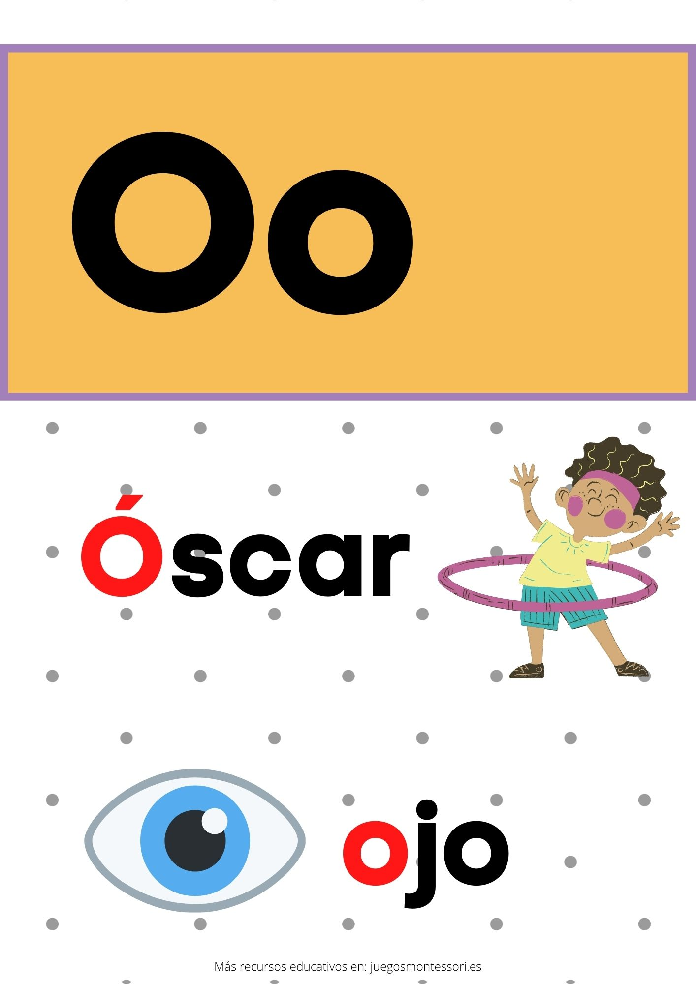 O abecedario letras separadas y grandes