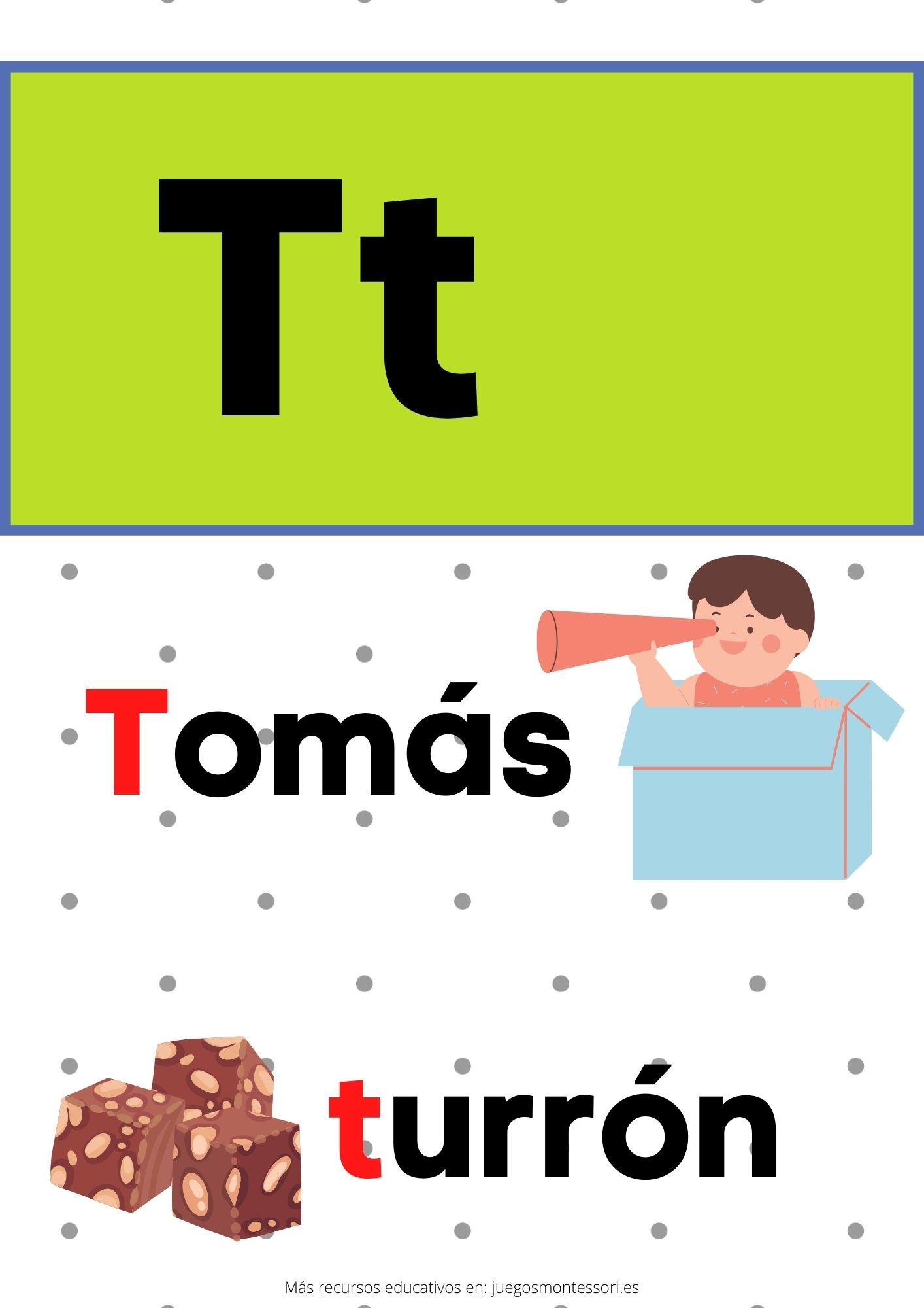 T abecedario letras separadas y grandes