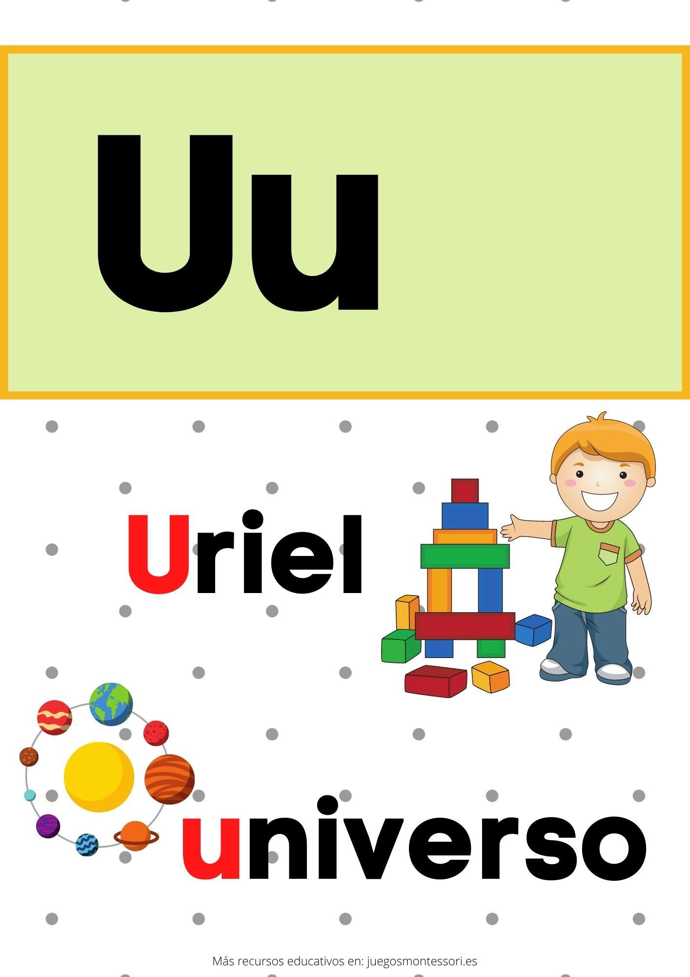U abecedario letras separadas y grandes
