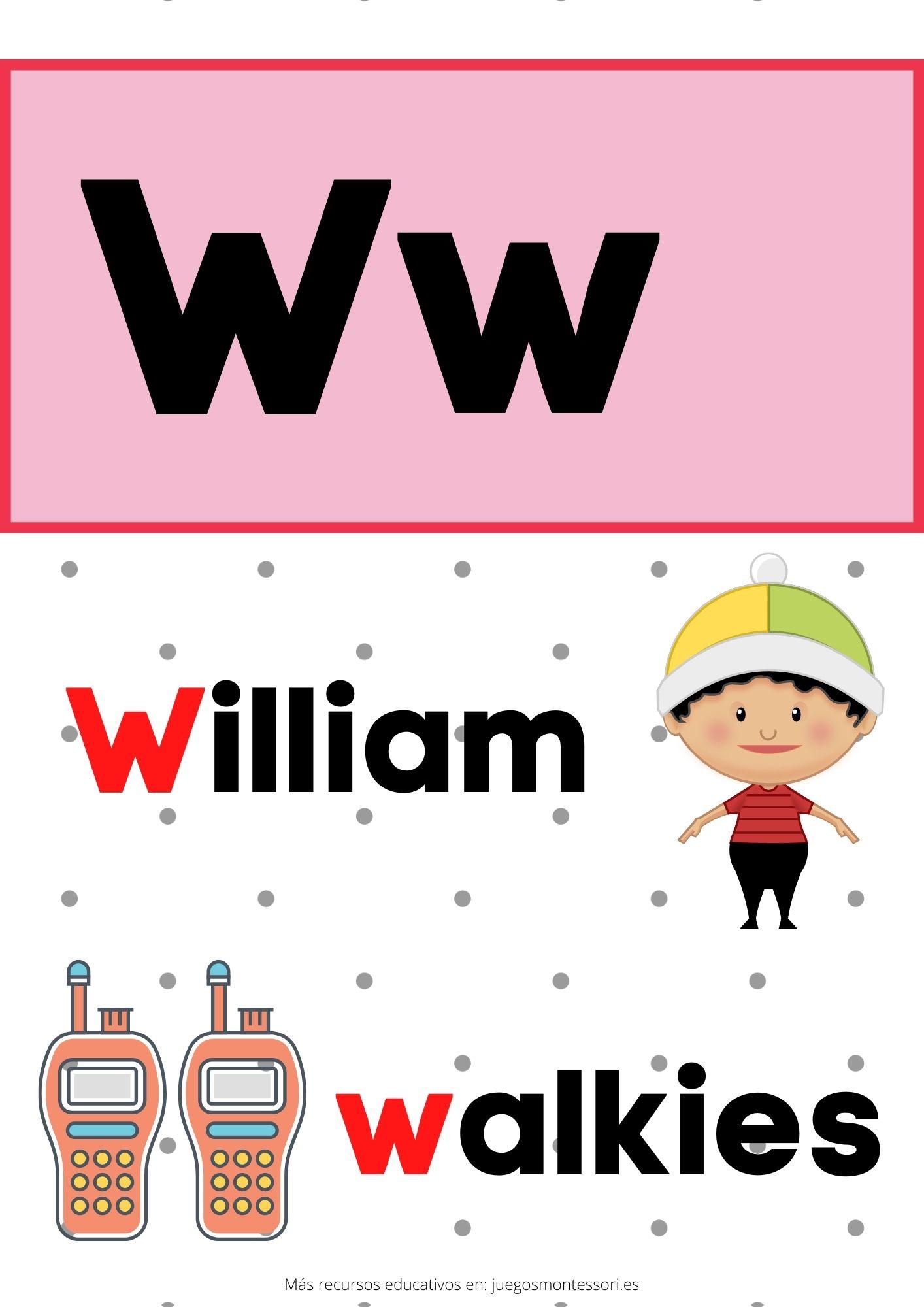 W abecedario letras separadas y grandes