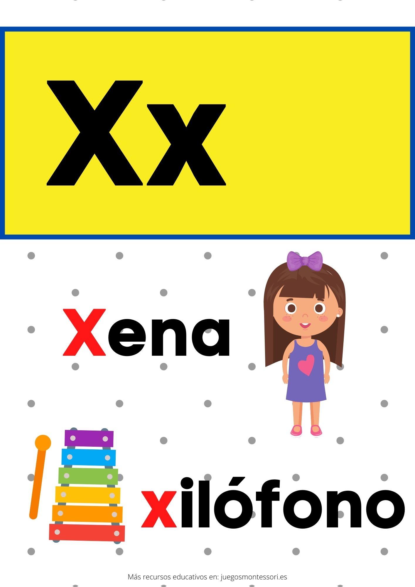 X abecedario letras separadas y grandes