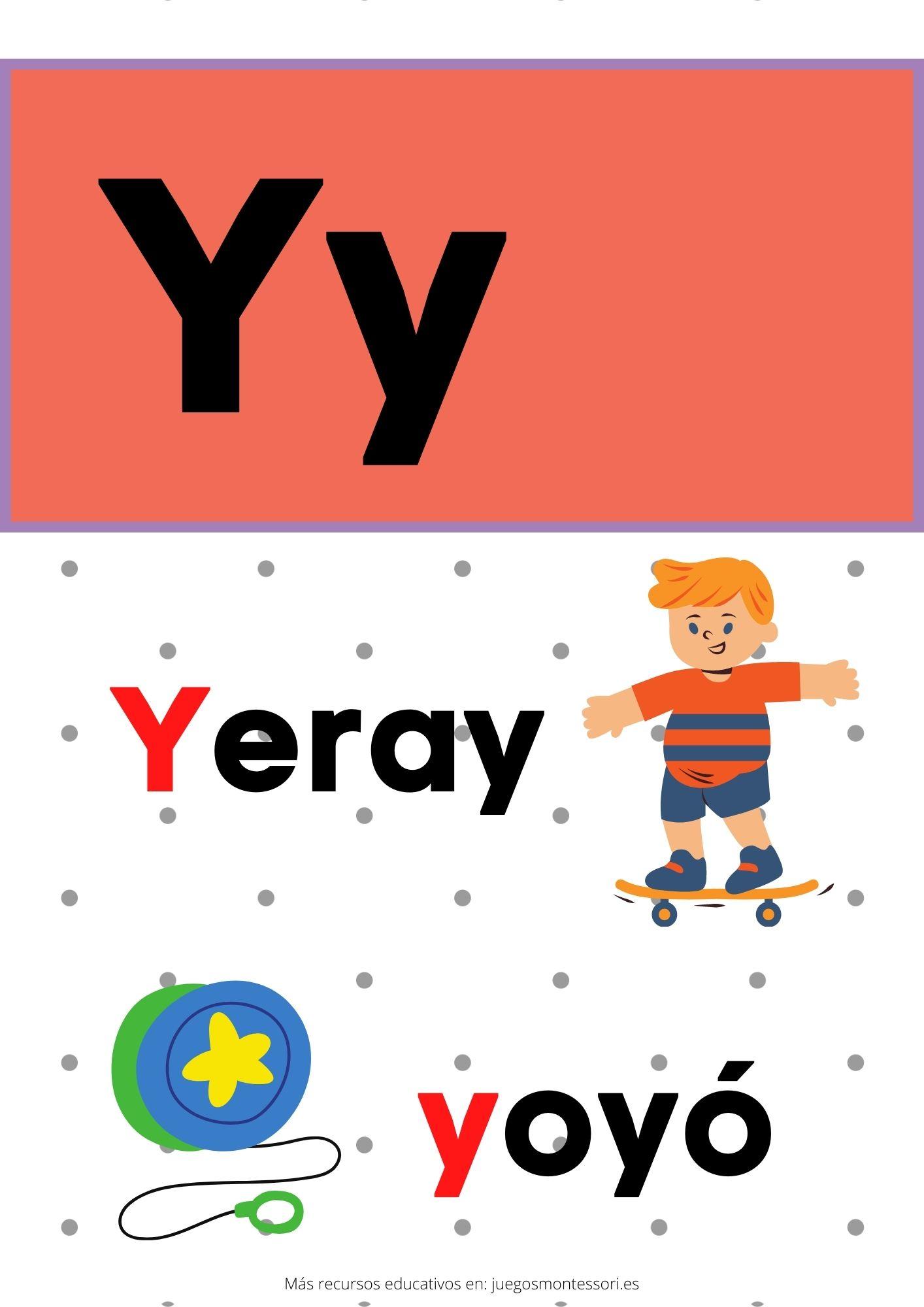 Y abecedario letras separadas y grandes