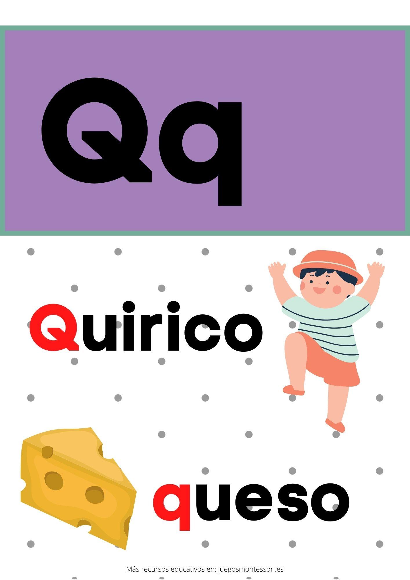 q abecedario letras separadas y grandes