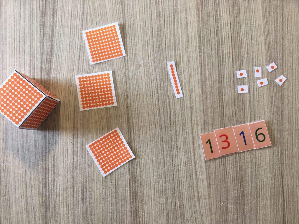 Sistema decimal Montessori impreso