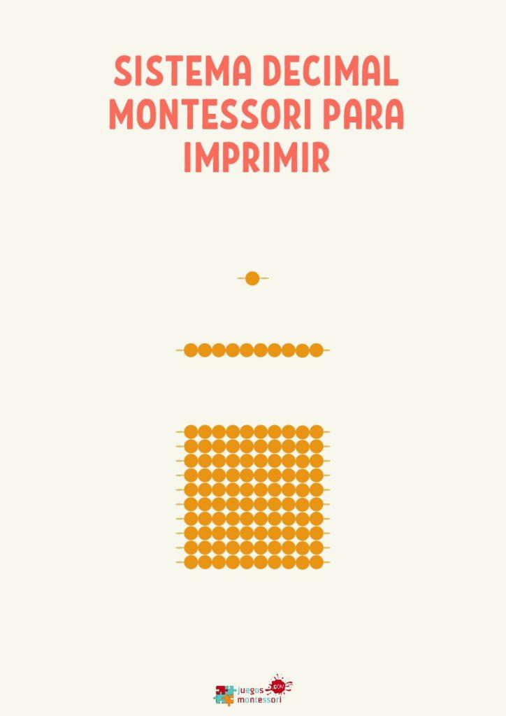 Sistema Decimal Montessori PDF imprimir