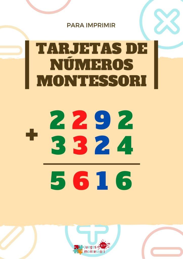 Tarjetas de números montessori para imprimir