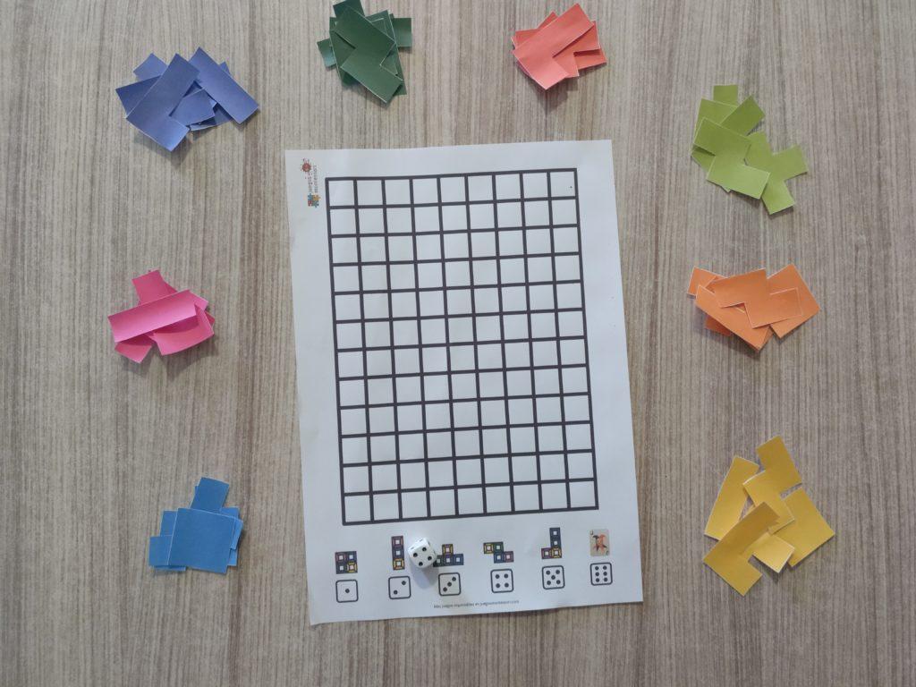 Tablero y fichas tetris para descargar e imprimir en PDF