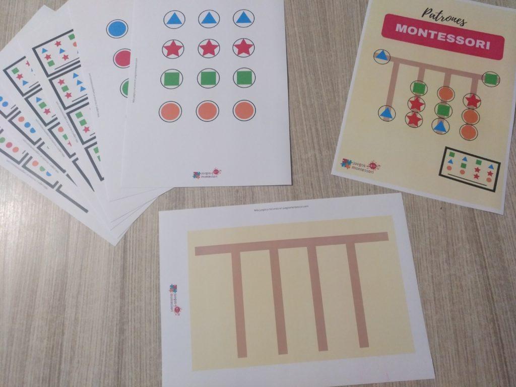 Juego de lógica montessori para imprimir