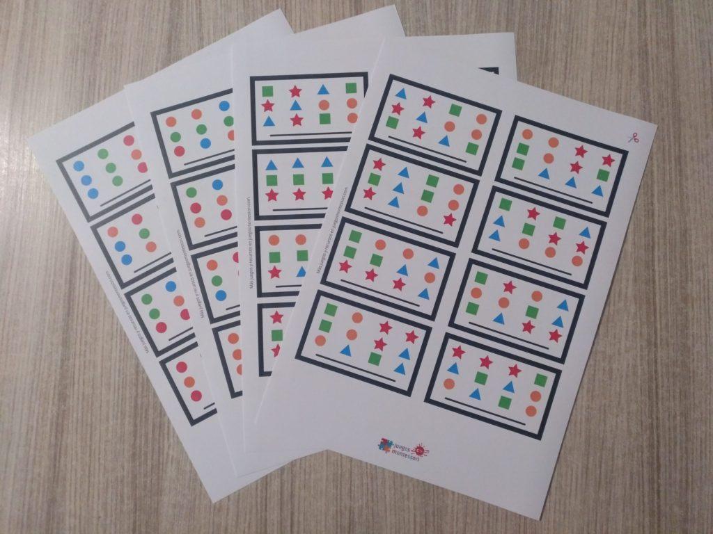 Tarjetas de juego de patrones estilo Montessori