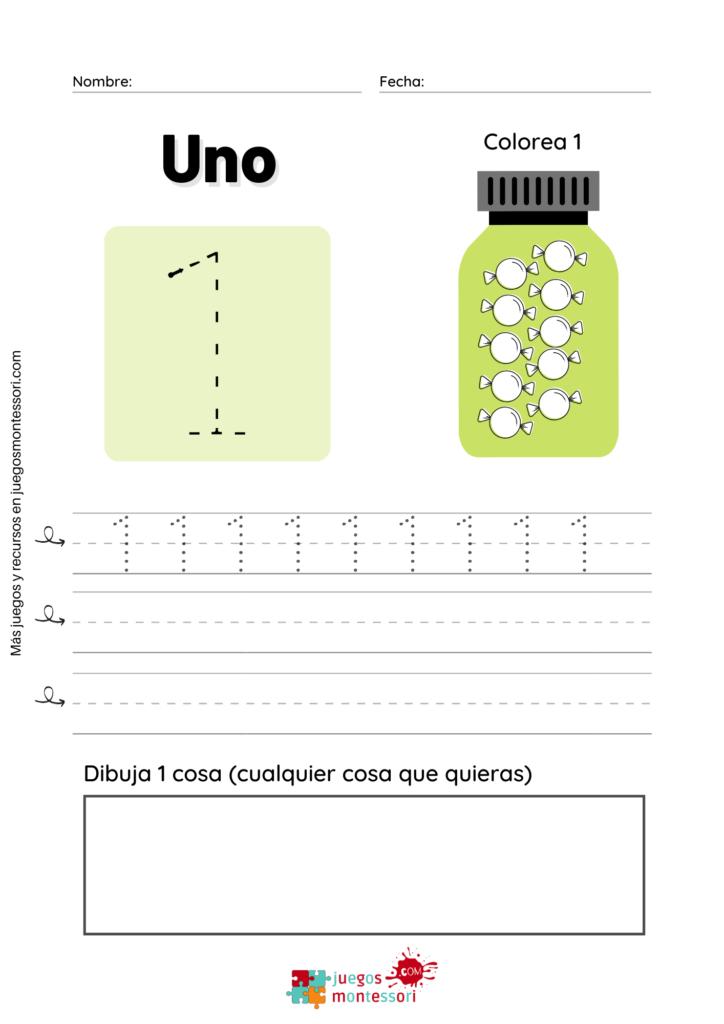 Grafomotricidad de números del 1 al 10 para imprimir